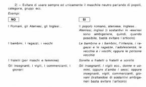 Raccomandazioni per un uso non sessista della linguaitaliana